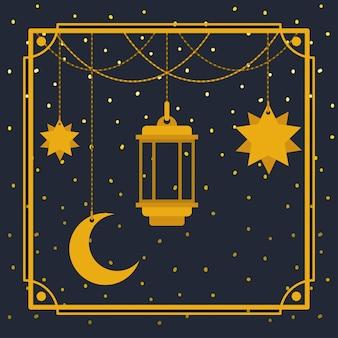 Ramadan kareem moldura dourada com lâmpada e lua, estrelas penduradas