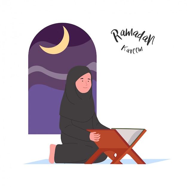 Ramadan kareem mulher árabe leitura