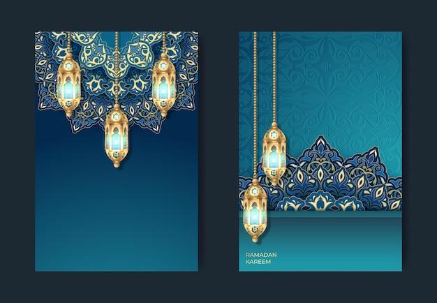 Ramadan kareem ou eid mubarak cartão islâmico