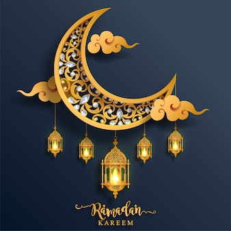 Ramadan kareem ou eid mubarak saudação fundo islâmico com ouro estampado e cristais na cor de fundo de papel.