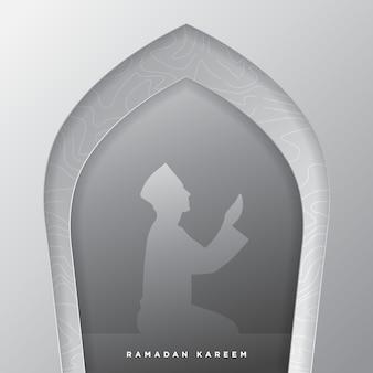 Ramadan kareem paper art fundo islâmico