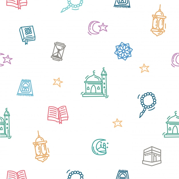 Ramadan kareem pattern of outline doodle