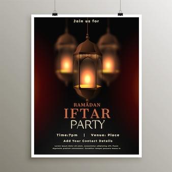 Ramadan kareem poster de festa iftar
