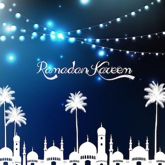 Ramadan kareem poster de saudação com mesquita e palmeira