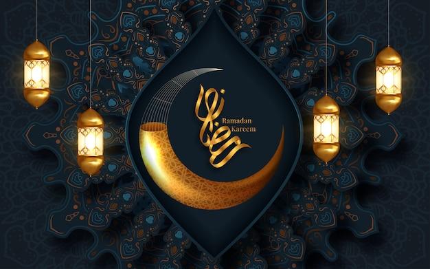 Ramadan kareem saudação crescente símbolo islâmico de fundo. ilustração