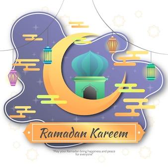 Ramadan kareem saudação decorativo fundo ilustração design