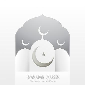 Ramadan kareem saudação design em estilo branco limpo