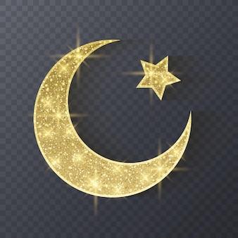 Ramadan kareem saudação fundo símbolo islâmico crescente