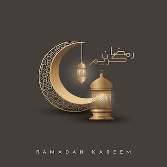 Ramadan kareem saudação islâmica fundo design com crescente de ouro e lanterna