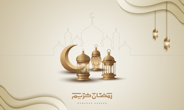 Ramadan kareem saudação islâmica fundo design com lua crescente de ouro e lanterna