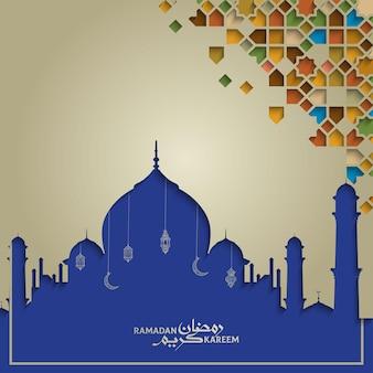 Ramadan kareem saudação islâmica fundo mesquita colorfull marrocos padrão geométrico