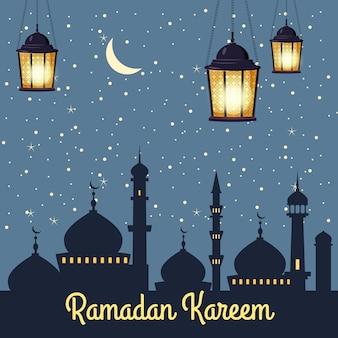 Ramadan kareem silhuetas de fundo da mesquita lua brilhante, noite, céu estrelado, lanternas