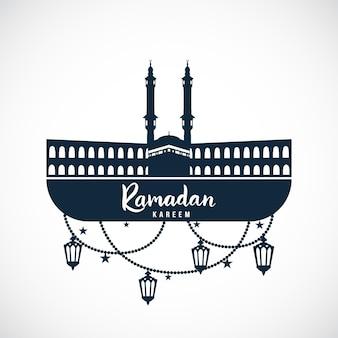 Ramadan kareem sinal da mesquita com lâmpadas penduradas