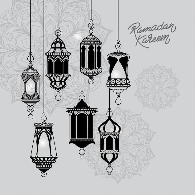 Ramadan kareem temporada fundo com lâmpadas de suspensão mão desenhado fundo