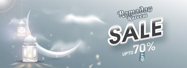 Ramadan kareem venda design de modelo de cabeçalho ou banner com 70% de desconto