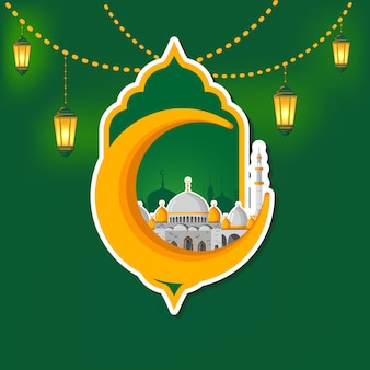 Ramadan kareem vetor cartão layout com mesquita, minaretes, lâmpadas de brilho árabe e decoração ornamental.