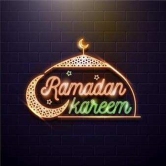 Ramadan letras sinal de néon com lua
