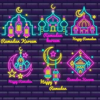 Ramadan lettering sinal de néon