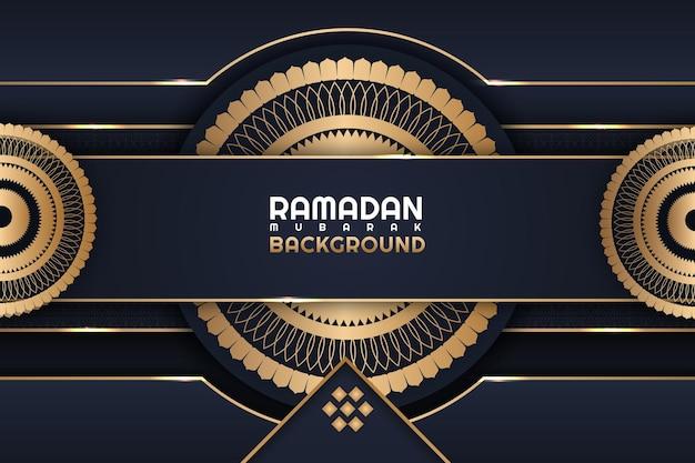 Ramadan mubarak flor dourada cor de fundo azul escuro e dourado
