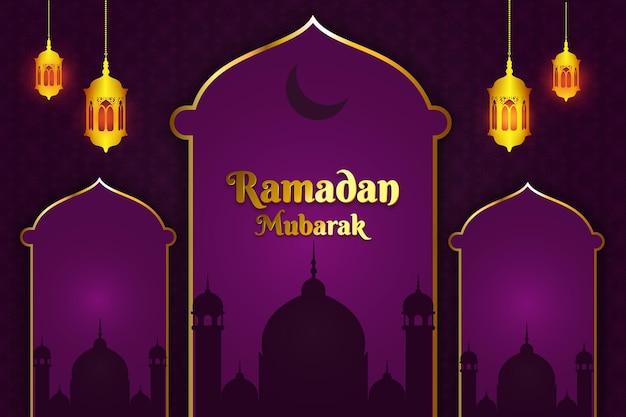 Ramadan mubarak mesquita plana cor de fundo roxa e dourada