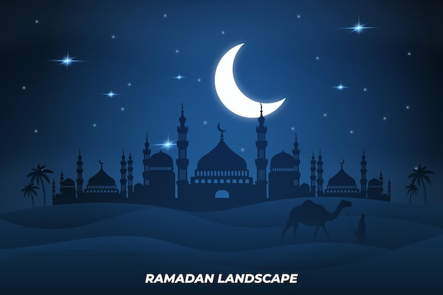 Ramadan paisagem mesquita plana camelo sobremesa lua noite