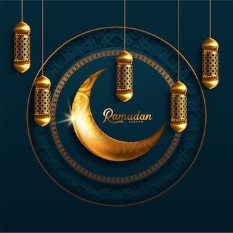 Ramadan pendurando um pôster de lanternas brilhantes com várias lâmpadas brilhantes