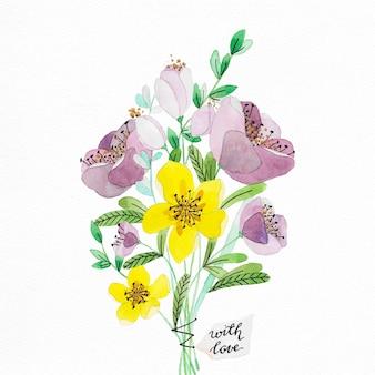 Ramal de flores de aguarela pintada à mão