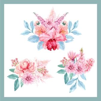 Ramalhete com conceito encantador floral, ilustração floral vintage aquarela.