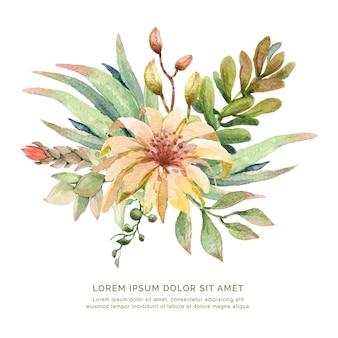 Ramalhete dos cactos e das plantas carnudas da flor da aquarela.