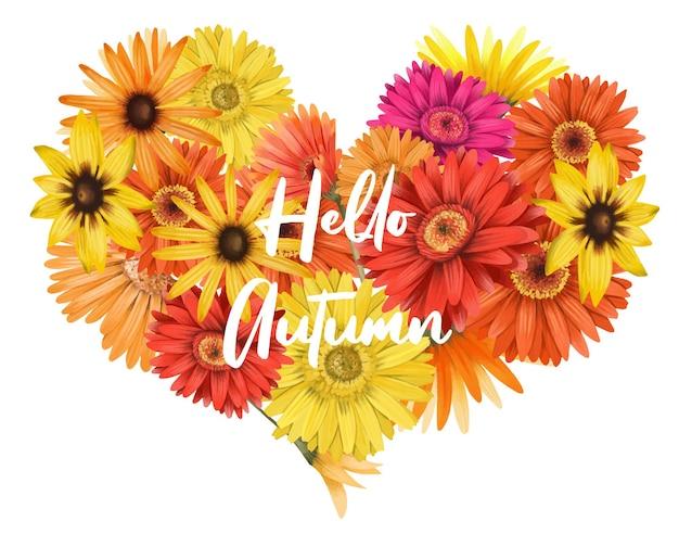 Ramalhete floral de outono em forma de coração de ásteres e flores gérberas