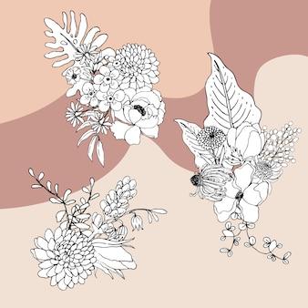 Ramalhete flores linha arte tropial. plantas com flores decorativas.