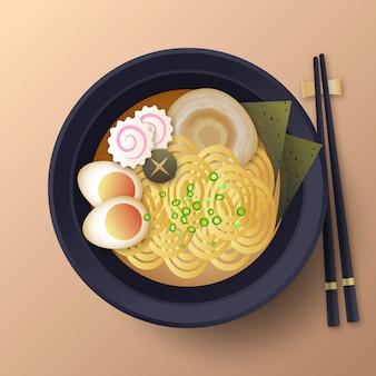 Ramen de comida de conforto no prato
