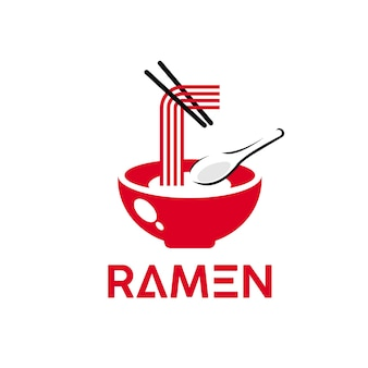 Ramen logo simple red noodles vector oriental famosa culinária tradicional