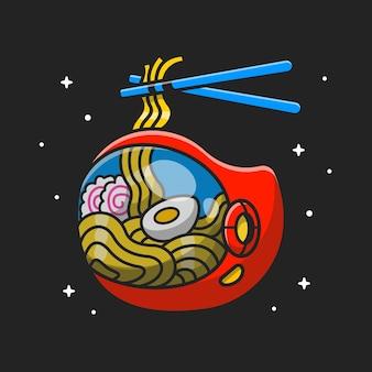 Ramen noodle astronaut helmet cartoon icon ilustração vetorial. conceito de ícone de tecnologia alimentar isolado vetor premium. estilo flat cartoon
