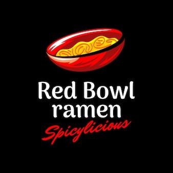 Ramen picante moderno no logotipo tigela vermelha em fundo escuro