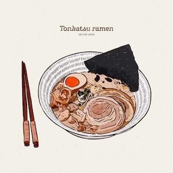 Ramen tonkotsu rico e cremoso com chashu e ovo, esboço de desenho de mão.