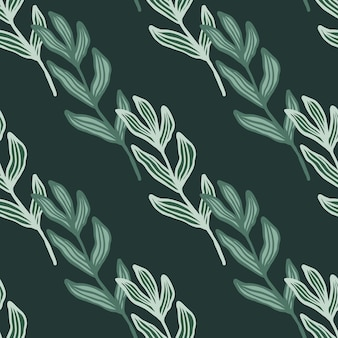 Ramo abstrato com folhas padrão sem emenda sobre fundo verde.