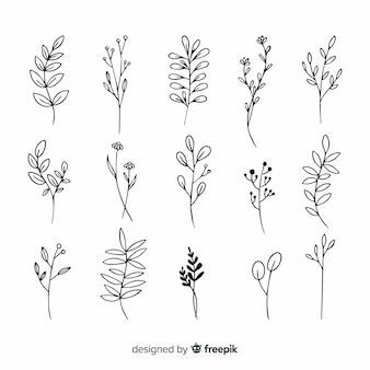 Ramo com desenho ornamental de folhas