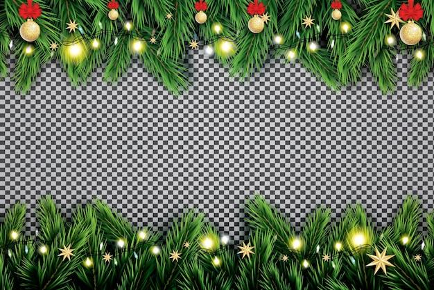 Ramo de abeto com luzes de néon, bola de natal e estrelas em fundo transparente.