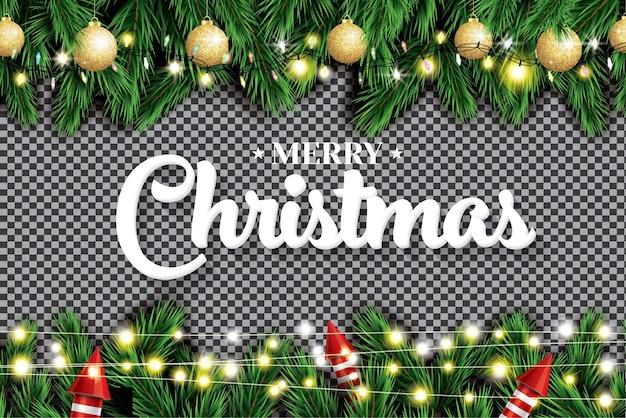 Ramo de abeto com luzes de néon, bolas de natal douradas e foguetes vermelhos em fundo transparente.