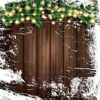 Ramo de abeto com luzes de néon e gelo em fundo de madeira. feliz natal e feliz ano novo. ilustração vetorial.
