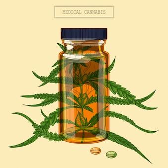 Ramo de cannabis medicinal e frasco e comprimidos
