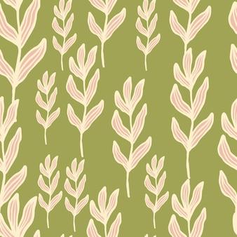 Ramo de contorno de floresta aleatório com folhas padrão sem emenda. pano de fundo abstrato de folhagem. papel de parede da natureza. para desenho de tecido, impressão têxtil, embalagem, capa. ilustração vetorial.