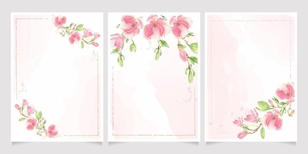 Ramo de flor de magnólia florescendo na coleção de modelo de cartão de convite de respingo de aquarela rosa
