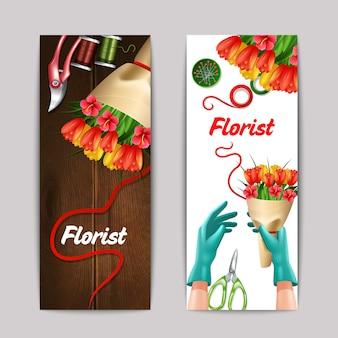 Ramo de flores com florista texto e equipamento banner conjunto isolado
