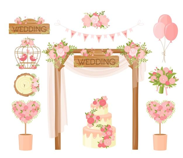 Ramo de flores de desenho animado, buquê de férias, arco, bolo, cartão de pombas, elementos de design de cartaz. decoração de cerimônia, casamento, itens de celebração de noivado.