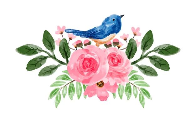 Ramo de flores rosa com aquarela