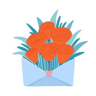 Ramo de flores vermelhas estilizadas, tulipas, papoulas, rosas em envelope com selo em forma de coração, carta de amor, cartão postal de estilo boho romântico, cartão de dia dos namorados, ilustração vetorial no fundo branco