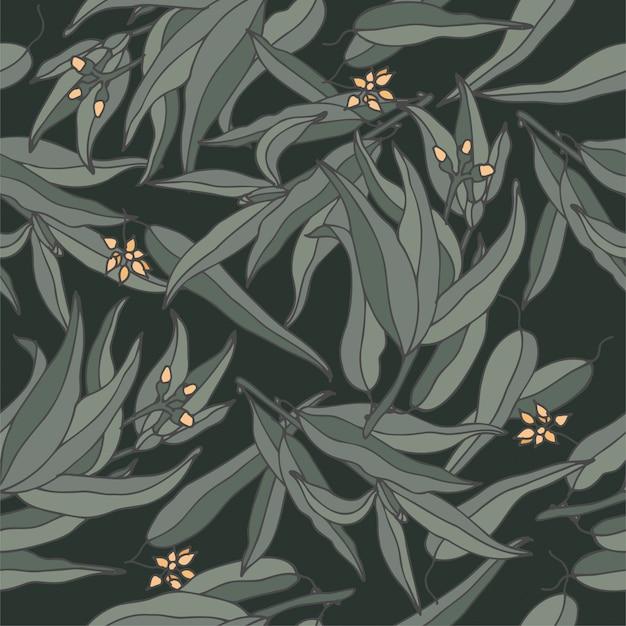 Ramo de goma azul eucalipto ilustração - estilo gravado vintage. padrão sem emenda em estilo botânico retrô