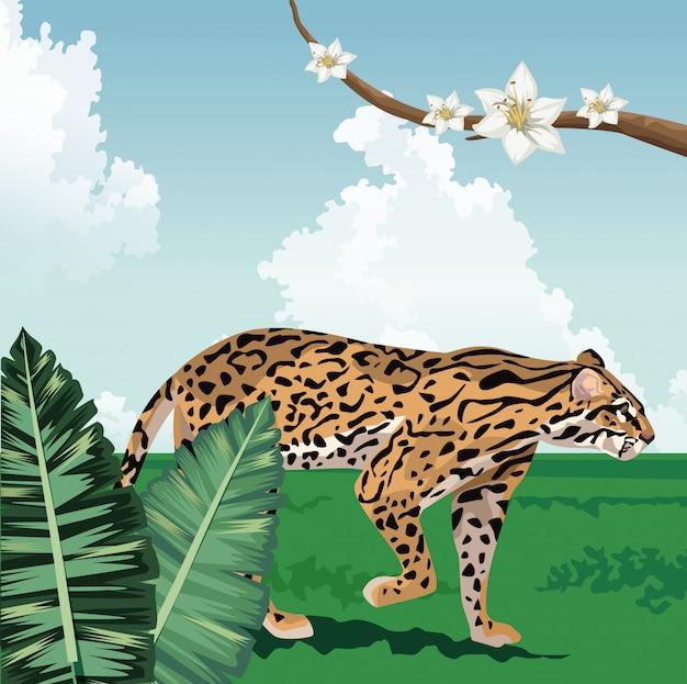 Ramo de leopardo com flores fauna tropical e paisagem de flora